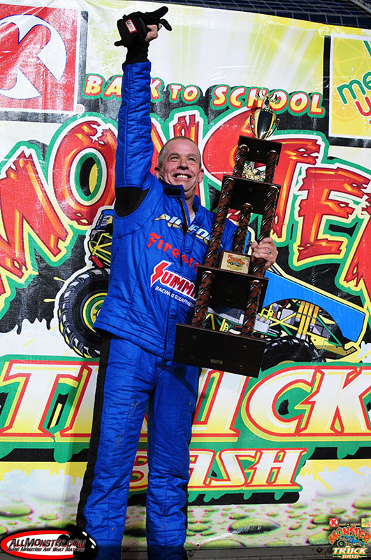 Dan Runte celebrating after the trophy presentation for his racing victory.